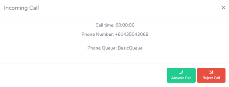 UQ Service Centre incoming call window, displaying call time, phone number of caller, queue and buttons to answer call reject call.